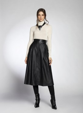 Skirt Two Pleats Faux Leather
