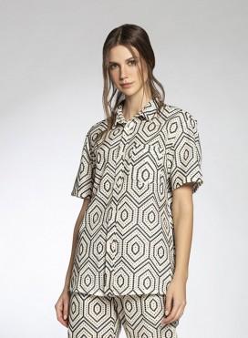 Shirt Basic Shortsleeves Rombus Voile/Broderie