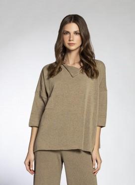 Blouse Pocket Longsleeves Cotton Knit