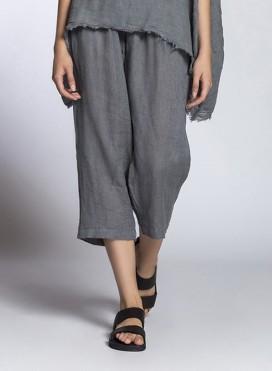 Pants Volume Cropped Linen Gauze