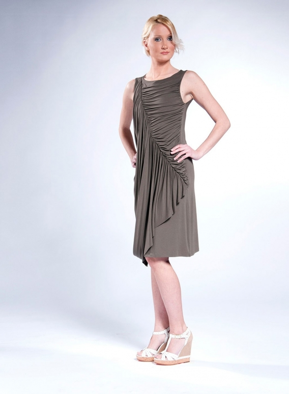 Dress Drapes Midi Sleeveless Elastic (50/50)
