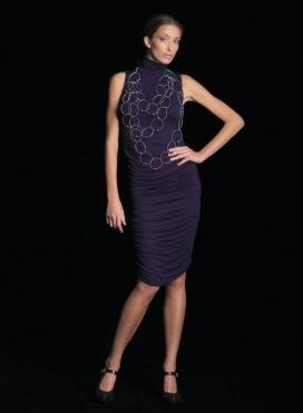 Dress Turtleneck Drape Sleeveless Midi Elastic