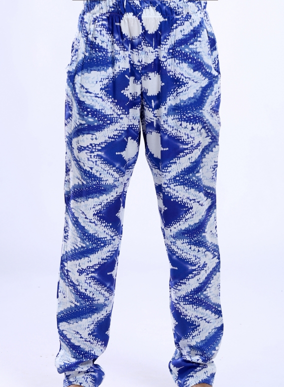 Pants Simple Blue Print 100% viscose