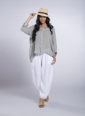 Shirt Tetragoni long sleeve linen gauze