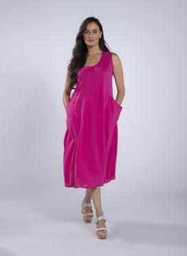 Φόρεμα Τσέπη maxi χωρίς μανίκι 100% λινό