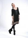 Dress Asymmetric Midi 3/4 Sleeve Double