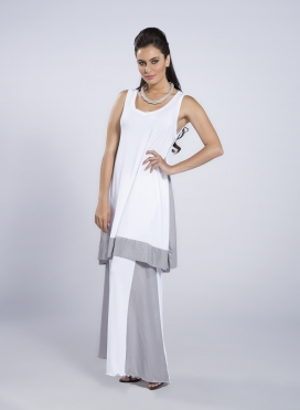 Dress Asymmetric sleeveless midi double
