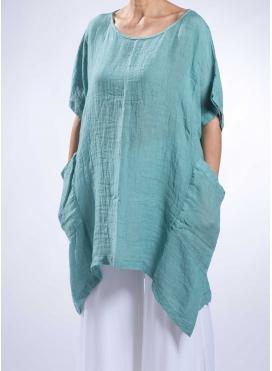 Blouse Square Pockets Long 100% Linen