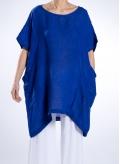 Μπλούζα Τετράγωνη Pockets Long 100% Λινή γάζα