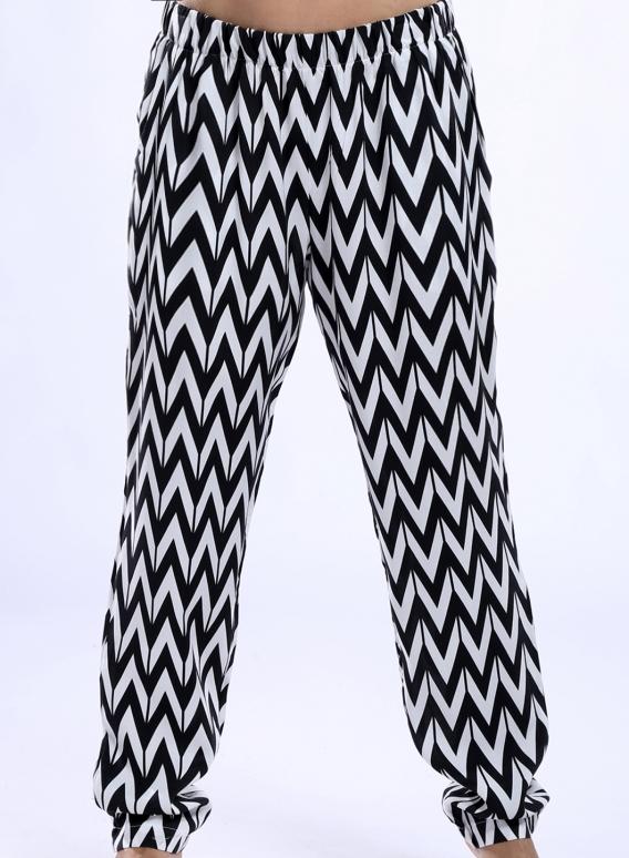 Pants Simple Black Print 100% Viscose