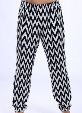 Παντελόνι Απλό Black Print 100% Viscose