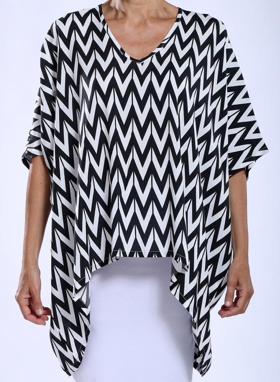Μπλούζα Τετράγωνη Black Print 100% Viscose