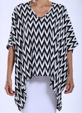 Μπλούζα Τετράγωνη V Black Print 100% Viscose
