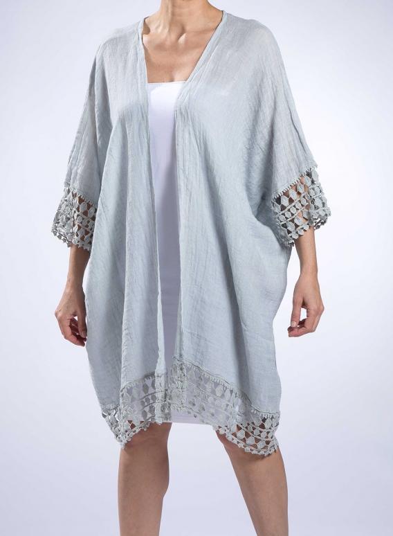Jacket Square Lace 100% Linen