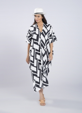 Kaftan Trigono Big Black Print 100% viscose