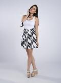 Skirt Mini Big Black Print 100% Viscose