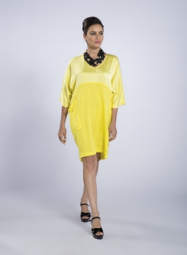 Φόρεμα τετράγωνο τσέπες satin/λινό