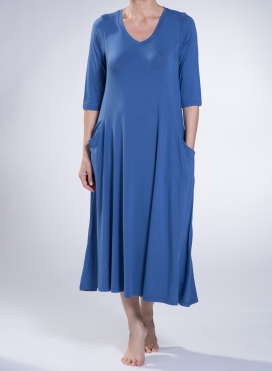 Dress Asymmetric 3/4 sleeves pockets elastic sized