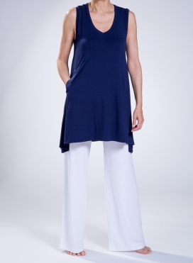 Blouse Asymmetric Sleeveless Slit Pockets Elastic