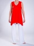 Blouse Asymmetric sleeveless slit pockets elastic