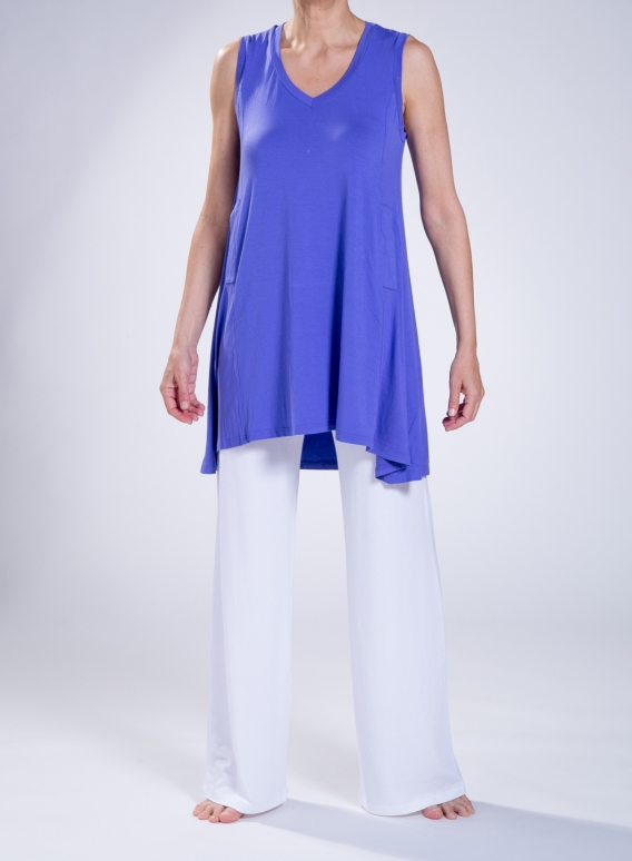 Μπλούζα Asymmetric sleeveless slit pockets elastic