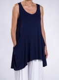 Μπλούζα Asymmetric Τσέπη Χωρίς Μανίκι Ελαστική