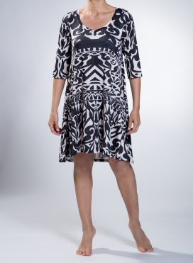 Dress Asymmetric Midi Neoclassical print