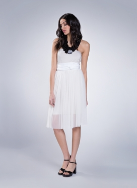 Skirt Gather tulle midi