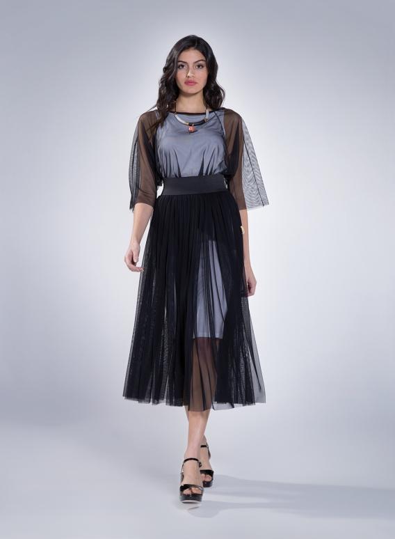 Skirt Gather Tulle Maxi