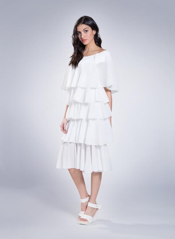 Dress volant plisse thin 100% pes
