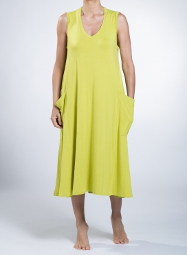 Dress Asymmetric big pockets sleeveless elastic