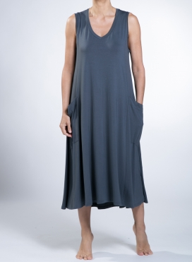 Φόρεμα Asymmetric big pockets sleeveless ελαστικό