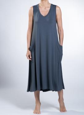 Φόρεμα Asymmetric big pockets sleeveless ελαστικό