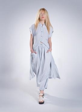 Φορεμα Σεμιζιε Τετραγωνο Χωρις Μανικι 100% Λινη Γαζα
