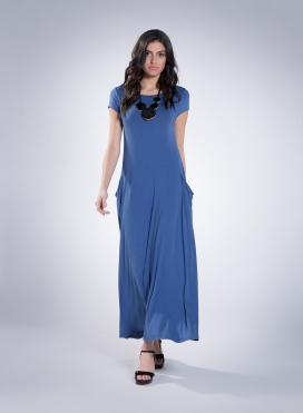 Dress Boatneck Pockets Maxi Cap Sleeve Elastic Sized