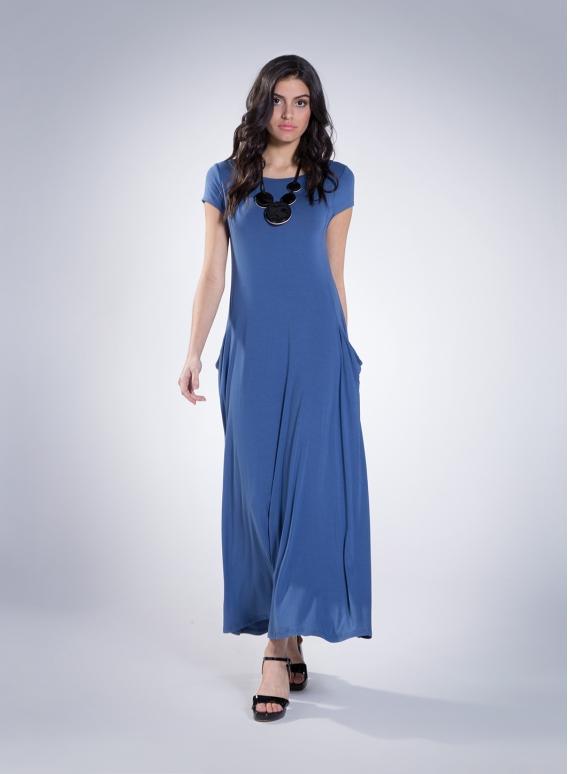 Φόρεμα Boatneck pockets maxi cap sleeves ελαστικό