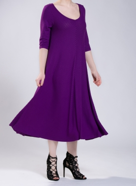 Dress Asymmetric 3/4 sleeves maxi 0.5 rib elastic
