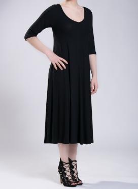 Φόρεμα Asymmetric maxi 3/4 μανίκια 0.5 rib ελαστική