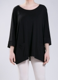 Blouse Cropped scoop pockets elastic