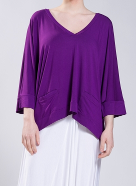 Blouse Cropped V pockets elastic