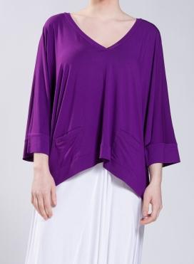 Μπλούζα Cropped V pockets ελαστική