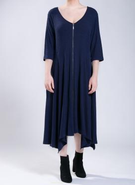 Φόρεμα Zip Long 3/4 μανίκια marbled effect fabric ελαστική
