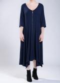 Dress Zip Long 3/4 sleeves marbled effect fabric elastic