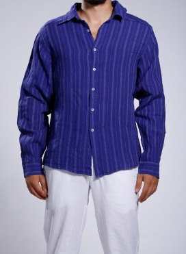 Shirt Collar With Texture Stripes Long Sleeves 100% Linen
