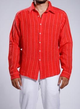 Shirt Collar With Texture Stripes Long Sleeve 100% Linen
