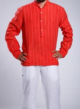 Μπλούζα 4 Κουμπιά Με Ριγα στην Υφανση Μακρύ Μανίκι 100% Λινό
