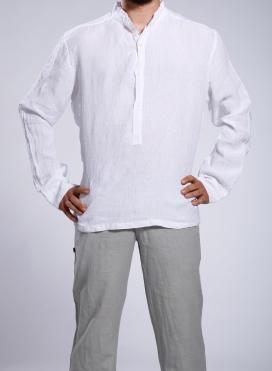 Μπλούζα 4 Κουμπιά Με Ριγα στην Υφανση Μ.M. 100% Λινό