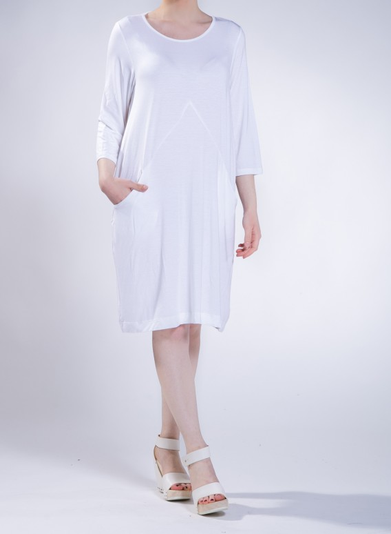 Dress Trian Pockets 3/4 Elastic