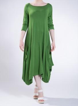 Φόρεμα Toulip pockets midi 3/4 sleeves ελαστικό
