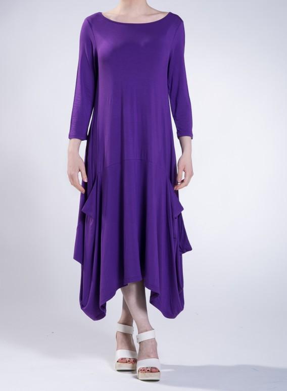 Dress Toulip pockets midi 3/4 sleeves elastic